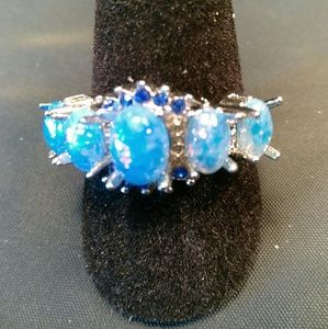 Stamped 925-Sterling Silver-Blue Stones Ring-Sz 7